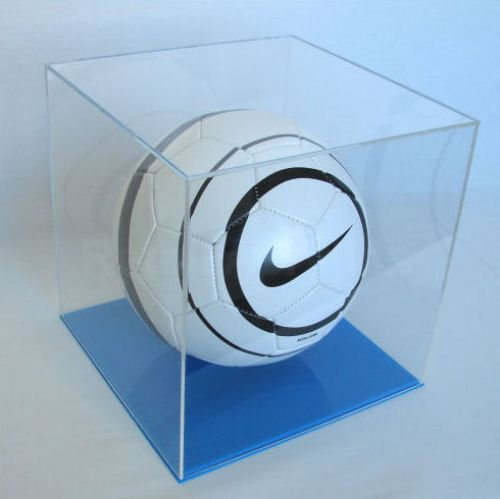 Football Display Case with Light Blue Base-LB2